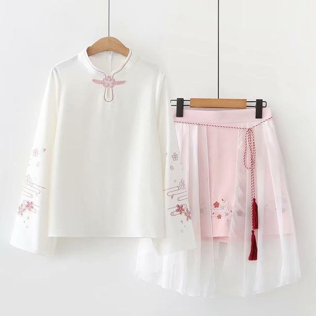 Two Piece Floral Eembroidery Long Sleeve Blouse and Mesh Skirt Kawii Dress #JU2770-White-L-Juku Store