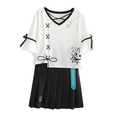 Two Piece Lace Up Neko T-Shirt and Pleated Skirt Kawaii Outfit #JU2641-Clothing Set-M-Juku Store