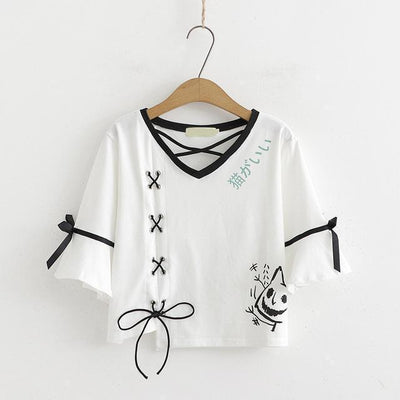 Two Piece Lace Up Neko T-Shirt and Pleated Skirt Kawaii Outfit #JU2641-White Top-L-Juku Store