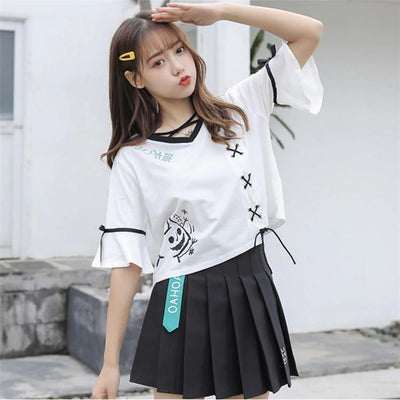 Two Piece Lace Up Neko T-Shirt and Pleated Skirt Kawaii Outfit #JU2641-Juku Store