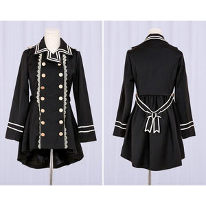Vintage Lolita Army Style Double Breasted Tail Coat Cosplay [2 Styles] #JU2086-Jacket With Lace-S-Juku Store