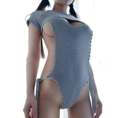 Virgin Killer Sweater 2.0 New Sexy Hollow Chest Lingerie [3 Colors] #JU1916-Juku Store