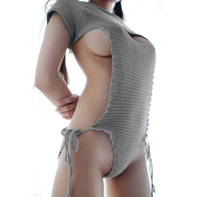 Virgin Killer Sweater 2.0 New Sexy Hollow Chest Lingerie [3 Colors] #JU1916-Cloud Grey-S-Juku Store