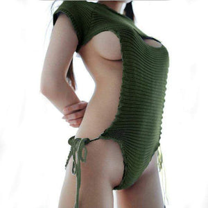 Virgin Killer Sweater 2.0 New Sexy Hollow Chest Lingerie [3 Colors] #JU1916-Deep Green-S-Juku Store
