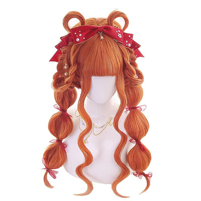 Wavy Long Orange Lolita Wig Cosplay Accessory #JU2909-Juku Store