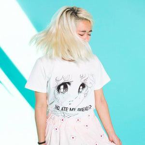 Who Ate My Bread T-Shirt Crying Anime Girl #JU2043-Juku Store