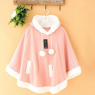 Winter Candy Fleece Cloak Hoodie Cape [6 Colors] #JU1823-Juku Store