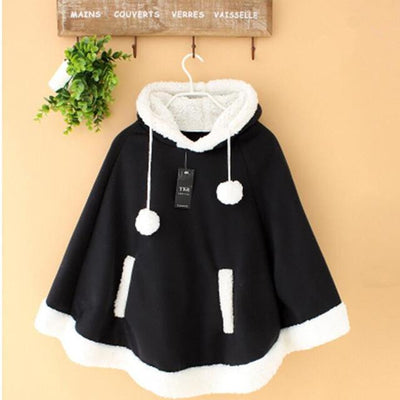 Winter Candy Fleece Cloak Hoodie Cape [6 Colors] #JU1823-Black-One Size-Juku Store