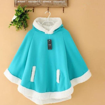 Winter Candy Fleece Cloak Hoodie Cape [6 Colors] #JU1823-Blue-One Size-Juku Store