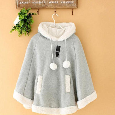 Winter Candy Fleece Cloak Hoodie Cape [6 Colors] #JU1823-Light Grey-One Size-Juku Store