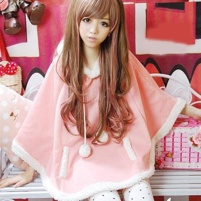 Winter Candy Fleece Cloak Hoodie Cape [6 Colors] #JU1823-Pink-One Size-Juku Store