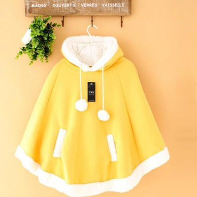 Winter Candy Fleece Cloak Hoodie Cape [6 Colors] #JU1823-Yellow-One Size-Juku Store