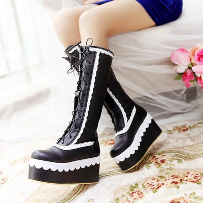 Winter Knee High Lolita Lace Platform Boots Kawaii Wedge #JU2551-Black-7-Juku Store