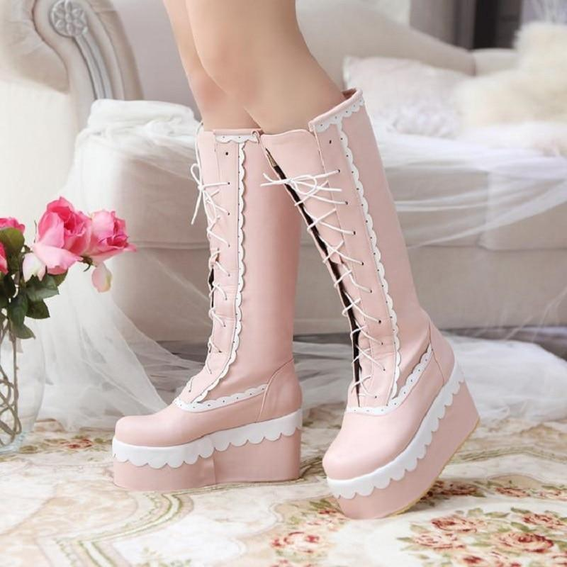 Winter Knee High Lolita Lace Platform Boots Kawaii Wedge #JU2551-Pink-3.5-Juku Store