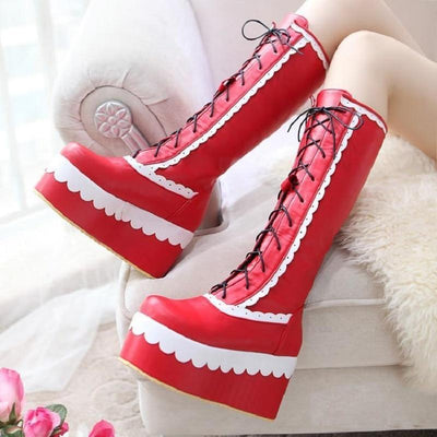 Winter Knee High Lolita Lace Platform Boots Kawaii Wedge #JU2551-Red-7-Juku Store