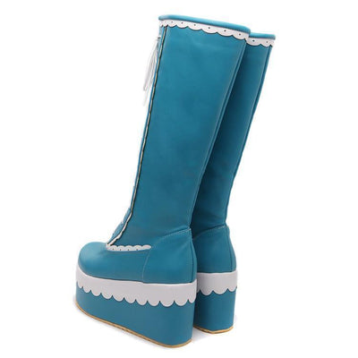 Winter Knee High Lolita Lace Platform Boots Kawaii Wedge #JU2551-Sky Blue-7-Juku Store