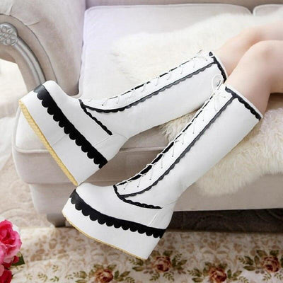 Winter Knee High Lolita Lace Platform Boots Kawaii Wedge #JU2551-White-3.5-Juku Store
