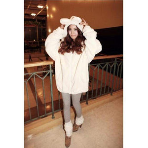 Winter Warm Fluffy Bear Hoodie Jacket [3 Colors] #JU1896-Juku Store