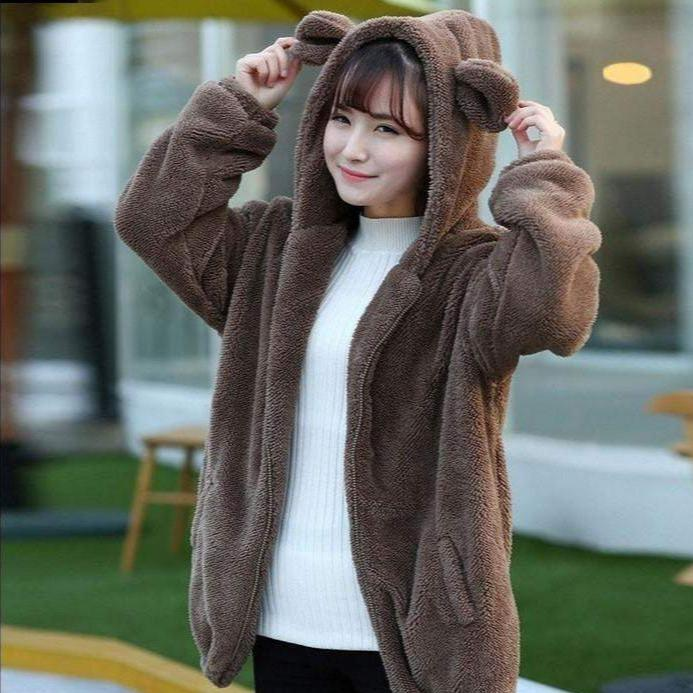Winter Warm Fluffy Bear Hoodie Jacket [3 Colors] #JU1896-Brown-One Size-Juku Store
