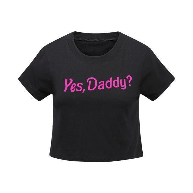 """Yes, Daddy?"" Sexy Crop Top Short Sleeve T-Shirt [2 Colors] #JU2305-Juku Store"