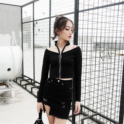 Zippered Off-Shoulder Long-Sleeved T-Shirt Punk Gothic Top #JU2456-Juku Store