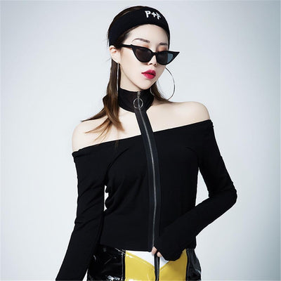 Zippered Off-Shoulder Long-Sleeved T-Shirt Punk Gothic Top #JU2456-L-Juku Store