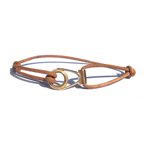 Bracelet Apala Doré - Cuir Chesterfield Naturel