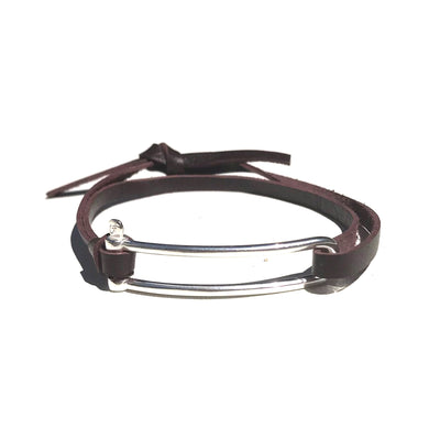 Bracelet Manille Allongée - Cuir Chesterfield Marron