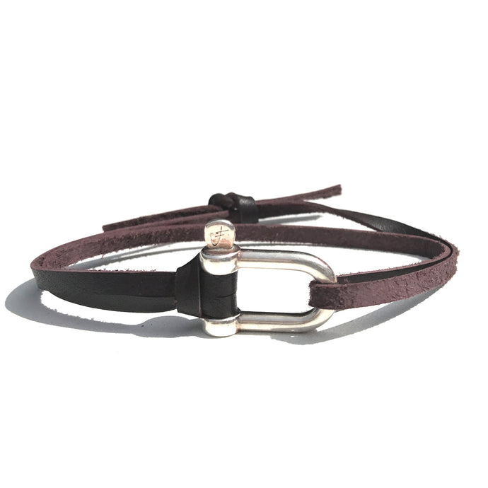 2 - Bracelet Grande Manille Argent - Cravate Club - Cuir Chesterfield