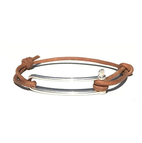 1. Bracelet Manille Allongée Argent - Cuir Chesterfield Naturel