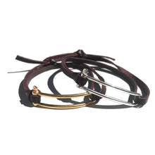 Bracelet Manille Allongée - Cravate Club - Cuir Chesterfield