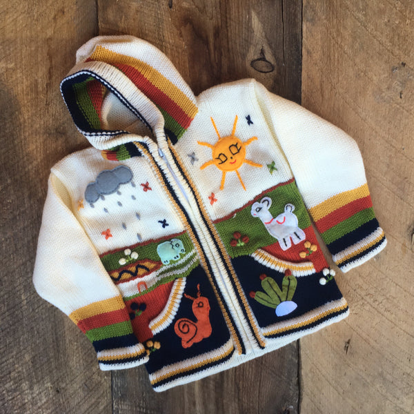 Children's Peruvian Hooded Zip Sweater