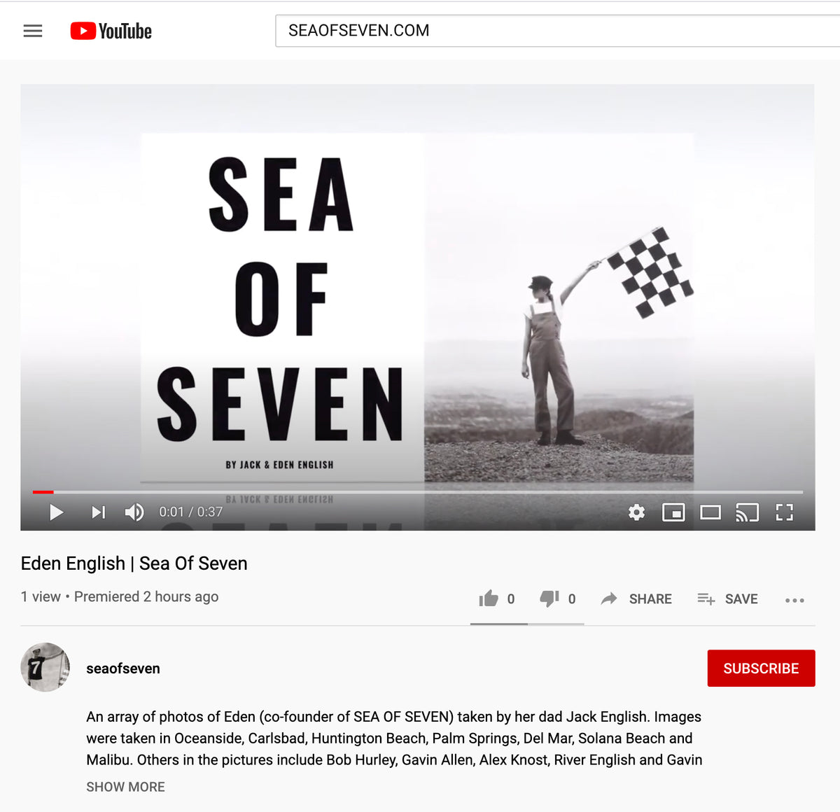 Sea Of Seven Get's A YouTube Channel