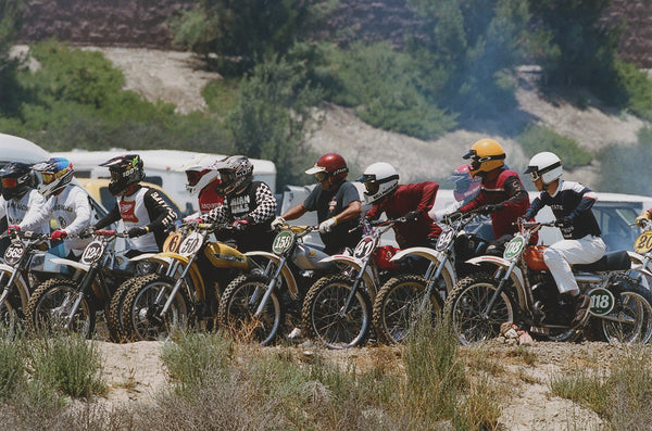 motocross racers lining up at the hell on wheels race in lake elsinore.