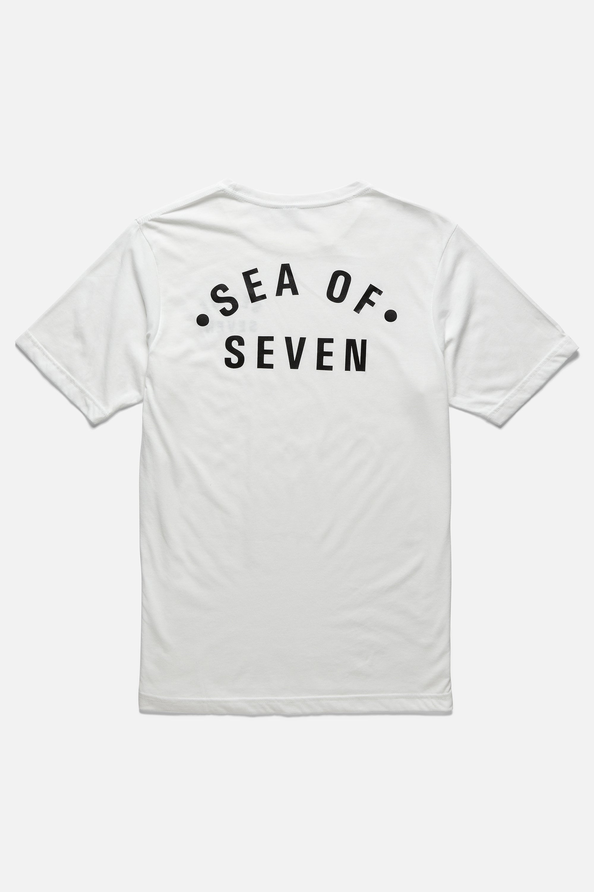 SEA OF SEVEN printed on back of mens white short sleeve t-shirt