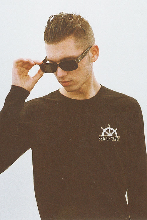 Captains Helm black long sleeve tshirt by Sea Of Seven Raen sunglasses