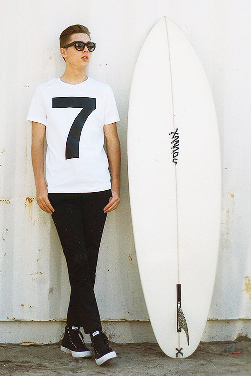 Mens white tee with a big number seven on the front - 7 t-shirt.