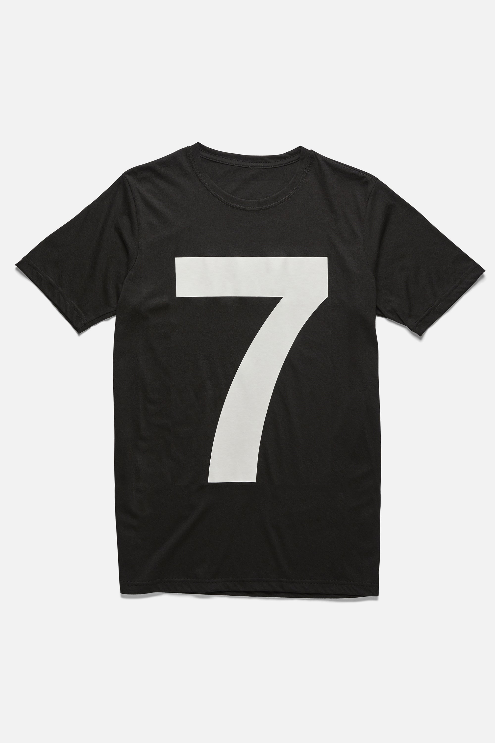 Mens black tee with oversized number 7 - white seven t-shirt