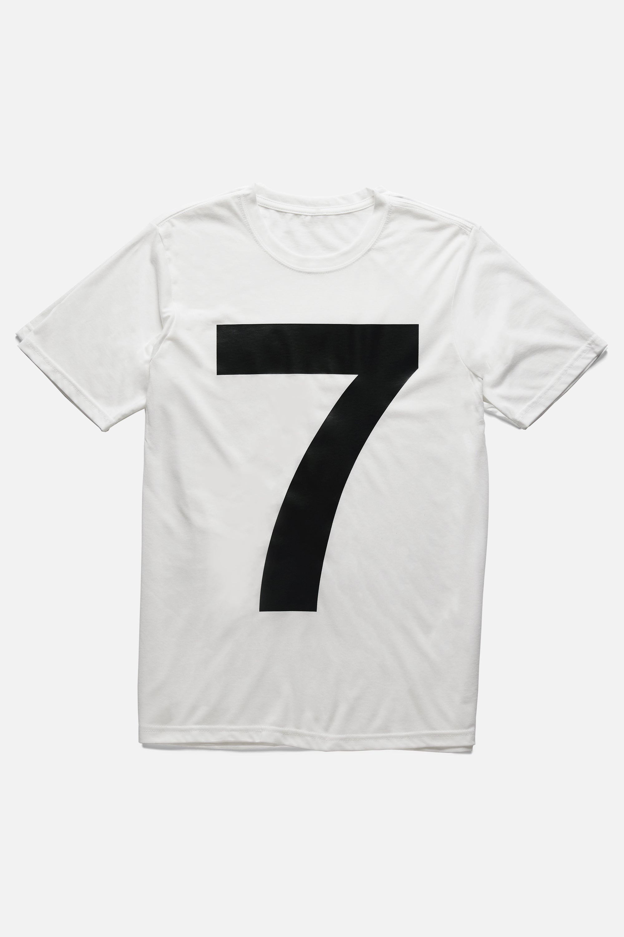 Oversized number 7 on mens white tee - Helvetica seven t-shirt.