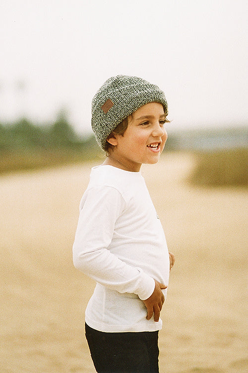 micah toddler long sleeve white tee and billabong kids beanie