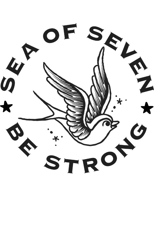 sea of seven girls tee with swallow bird be strong