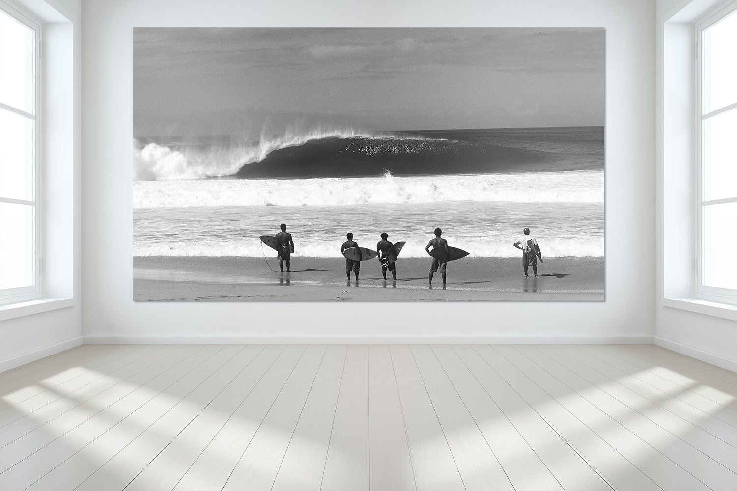 Surfing Wall Murals of a photo from the surf spot Pipeline on the North Shore of Oahu in Hawaii titled Standing Room Only.