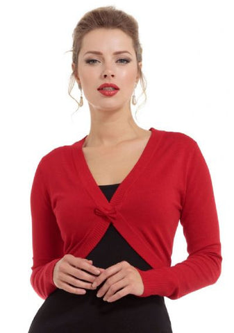 ELLE - CROPPED BOLERO CARDIGAN WITH FRONT BOW - RED