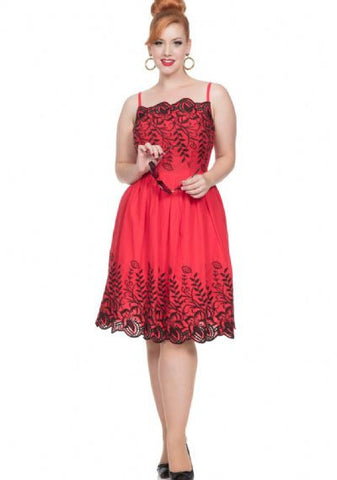 SCARLETT - EMBROIDERY FLARE DRESS