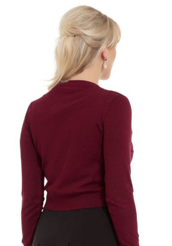 ELLE - CROPPED BOLERO CARDIGAN WITH FRONT BOW - BURGANDY