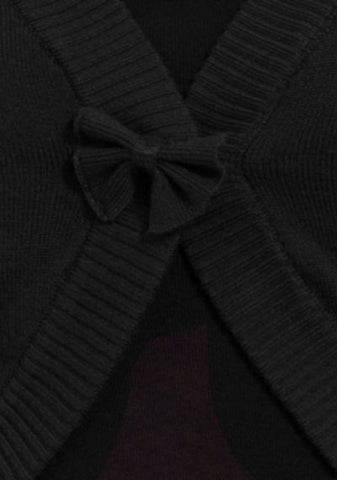 ELLE - CROPPED BOLERO CARDIGAN WITH FRONT BOW - BLACK