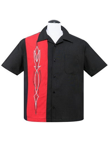 Hot Rod Pinstripe Button Up in Black