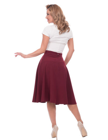 Pocket High Waist Thrills Skirt in Burgundy