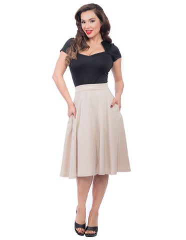Pocket High Waist Thrills Skirt in Stone