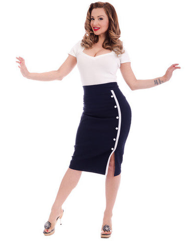 Sarina Button Slit Skirt in Navy